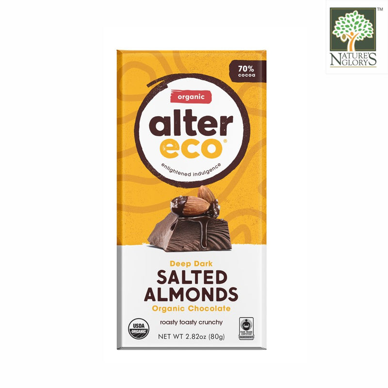 Alter Eco Dark Chocolate Salted Almonds Bar 80g