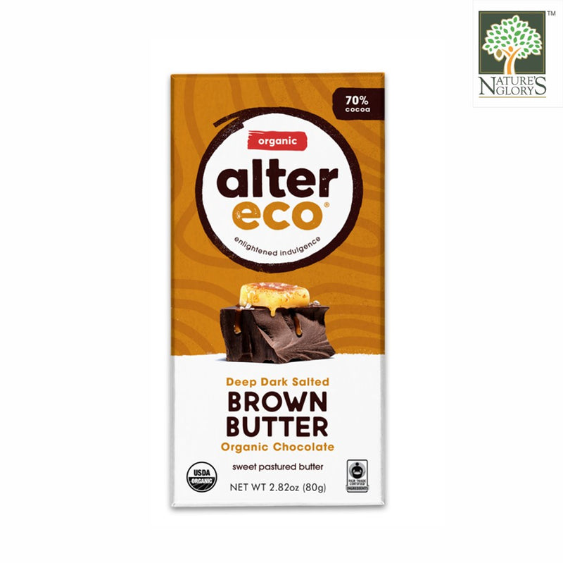 Alter Eco Dark Chocolate Salted Brown Butter Bar 80g