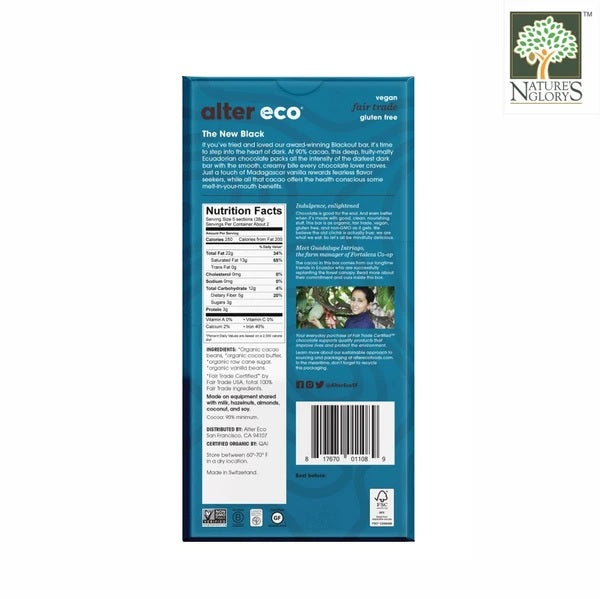 Deepest Dark Super Blackout Organic Chocolate Bar Alter Eco 80g - BackView