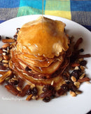 Stack of Pancakes Complement With Dried Apricot Nuts ... And Drizzled With Honey!