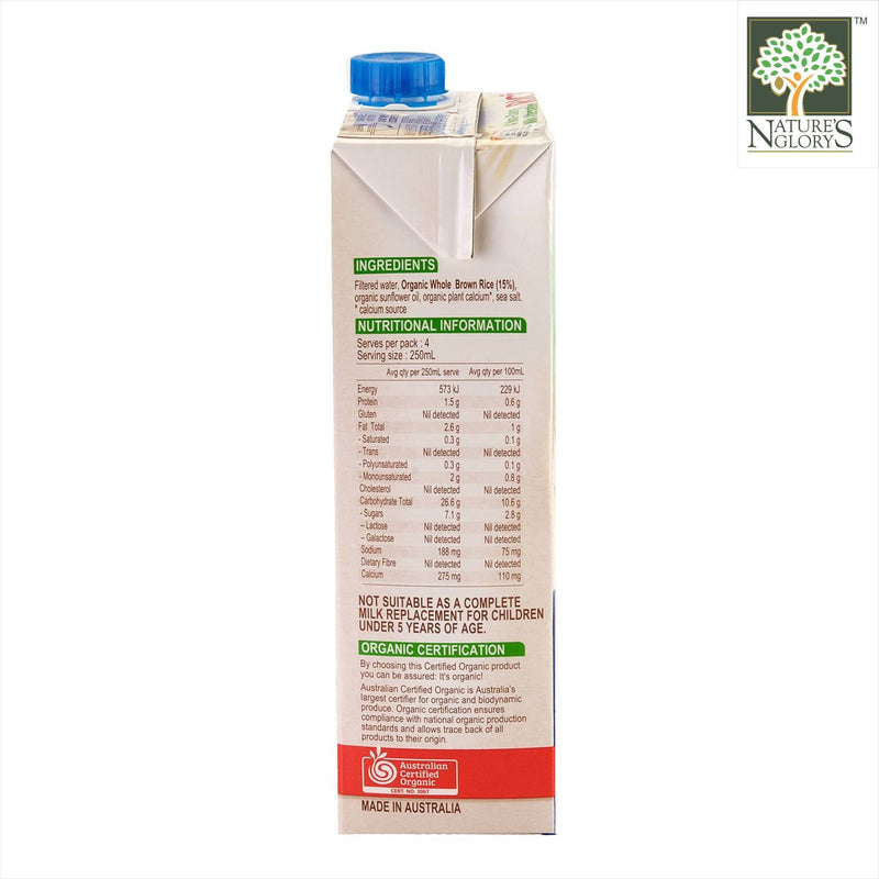 Aussie Dream Rice Milk PureHarvest (Enriched with Calcium) 1litre OG.GF.NETT