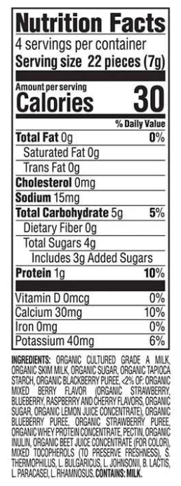 Mixed Berry Happy Baby Yogis Organic Snack 28g - Nutrition Facts