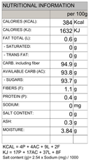 Barley Malt Candy Original, Nature's Glory 15pcs - Nutritional Inforrmation