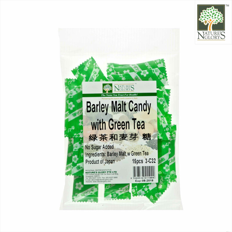 Barley Malt with Green Tea Candy, Nature's Glory 15pcs