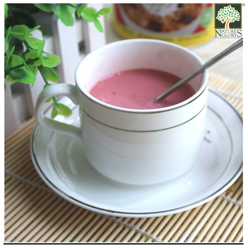 Instant Beetroot Oat Milk In A Tea Cup Set
