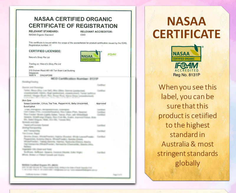 The Blessed Soaps NASAA Certified-the highest standard in Australia and most stringent standard globally