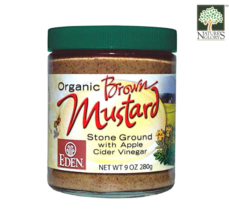 Brown Mustard-Glass Jar Eden 255g OG.
