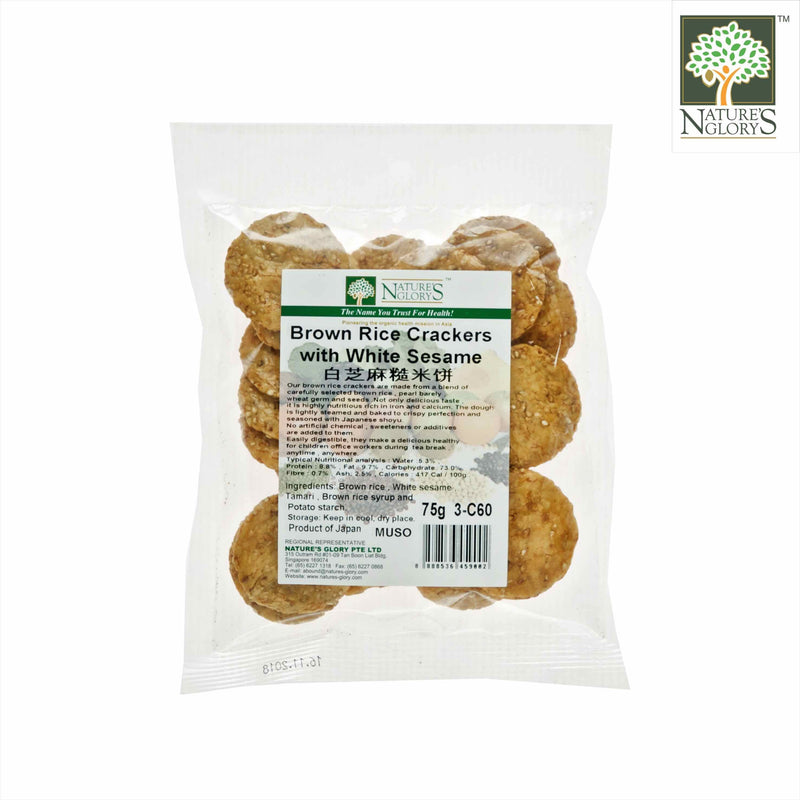 Brown Rice Cracker White Sesame Nature's Glory 75g