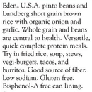 Rice & Pinto Bean Eden 425g Organic (Best before: March 05, 2021)