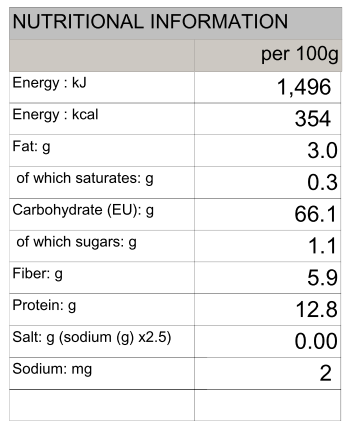 100% Soba (Buckwheat) Nature's Glory 230g/750g - Nutritional Information