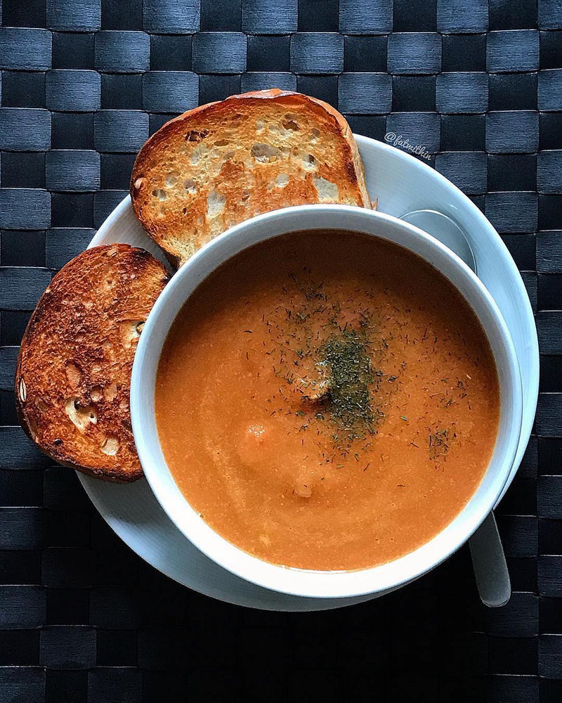 Carrot Creamy Soup with Toast Bread