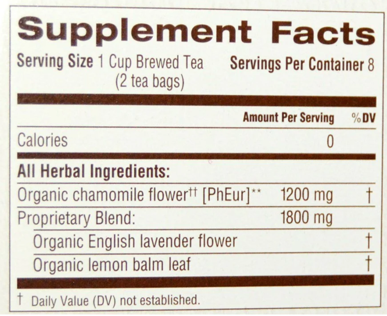 Organic Chamomile with Lavender Herbal Tea, Traditional Medicinals - Supplement Facts