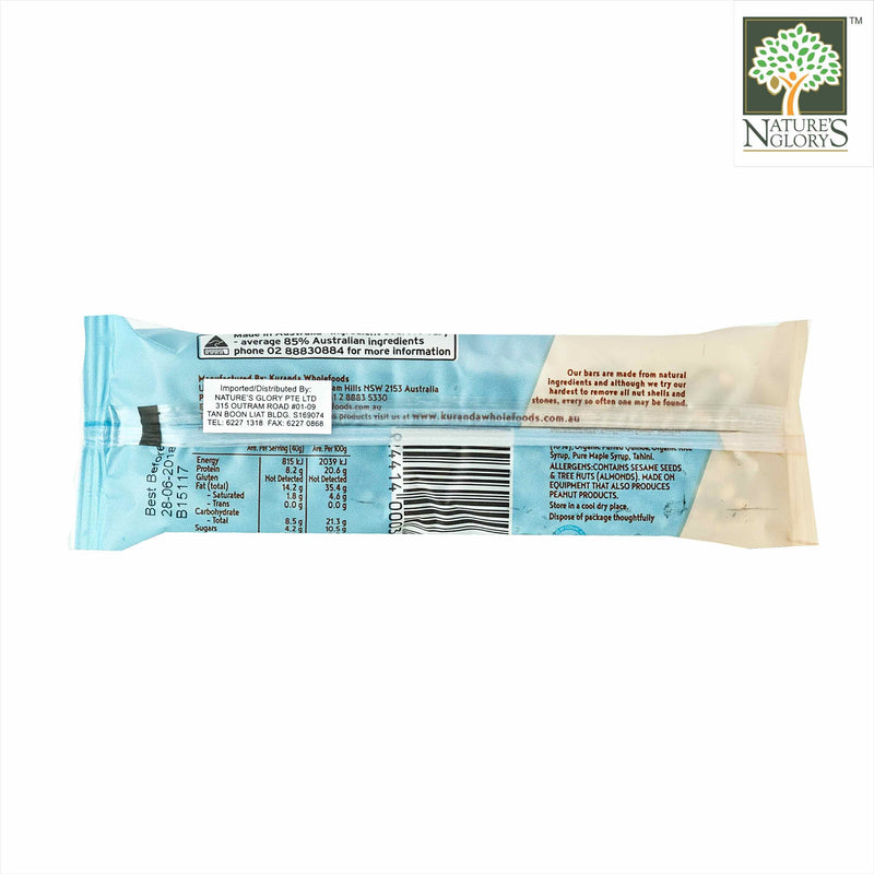 Chia & Almond Low GI Bar, Kuranda Gluten Free 40g - Back View