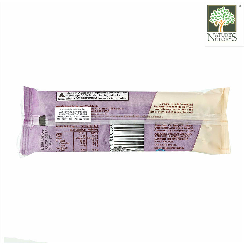 Chia & Cranberry Low GI Bar Kuranda Gluten Free 40g - Back View