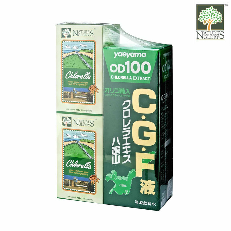 Nature's Glory Chlorella 2 x 1500 Tablets + 1 CGF Liquid Yaeyama Chlorella Extract 720ml - 1set NETT