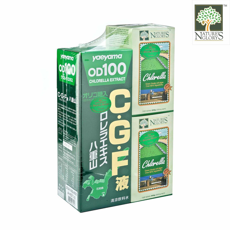 Nature's Glory Chlorella 2 x 1500 Tablets + 1 CGF Liquid Yaeyama Chlorella Extract 720ml - 1set NETT- Side View