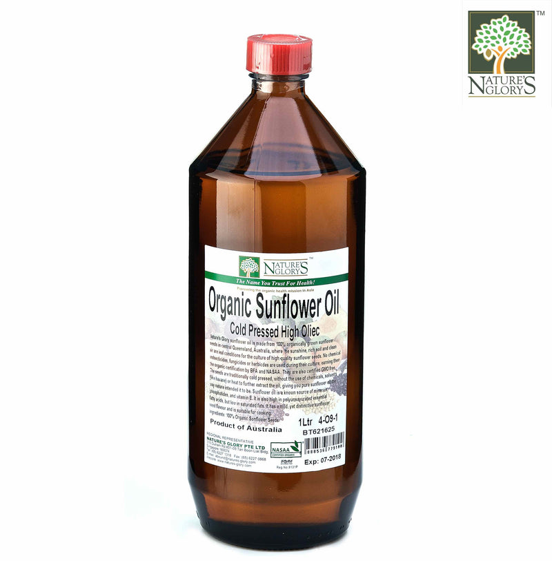 Cold Press Sunflower Oil  Nature's Glory 330ml/1litre Organic.(NA 8131P)