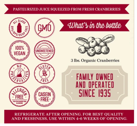 Organic Pure Cranberry Juice Lakewood 946 ml (Best before: Apr 13,2022)