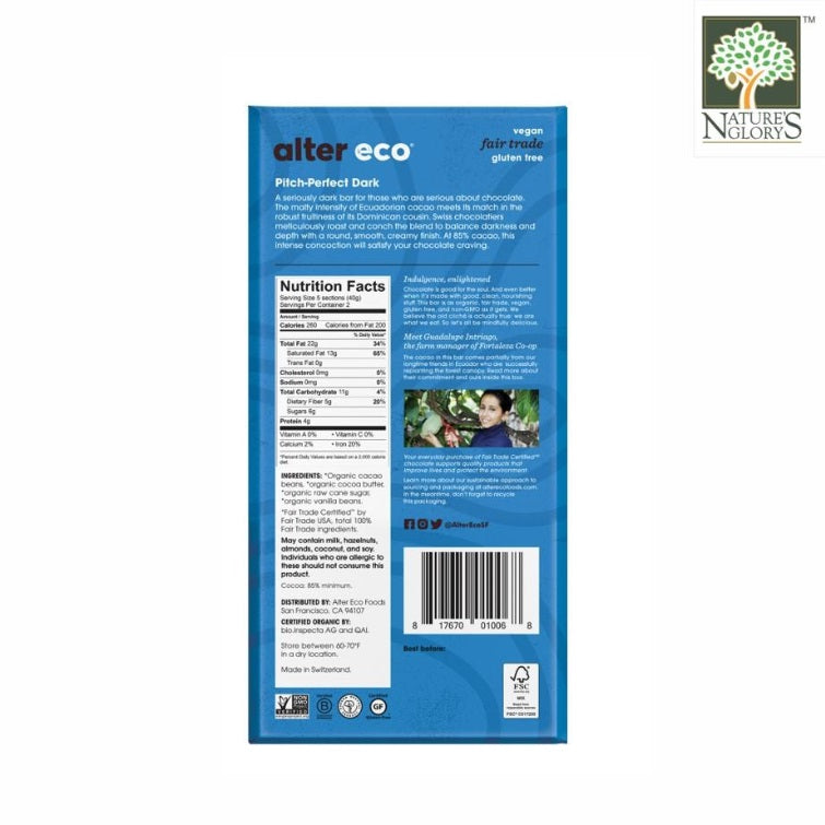Alter Eco Dark Chocolate Blackout Bar 80g (Best before:Feb 2021 )