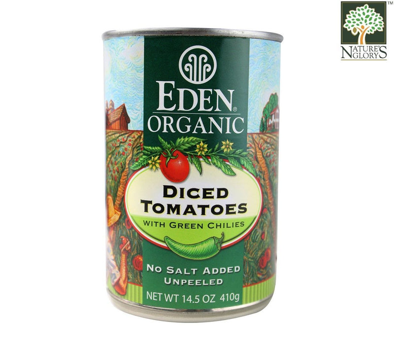 Diced Tomato-Green Chilies Eden 410g Organic.