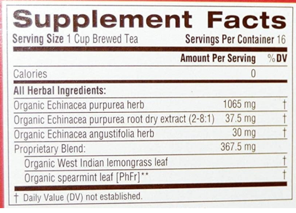 Traditional Medicinals Echinacea Plus Tea 16 bags Organic