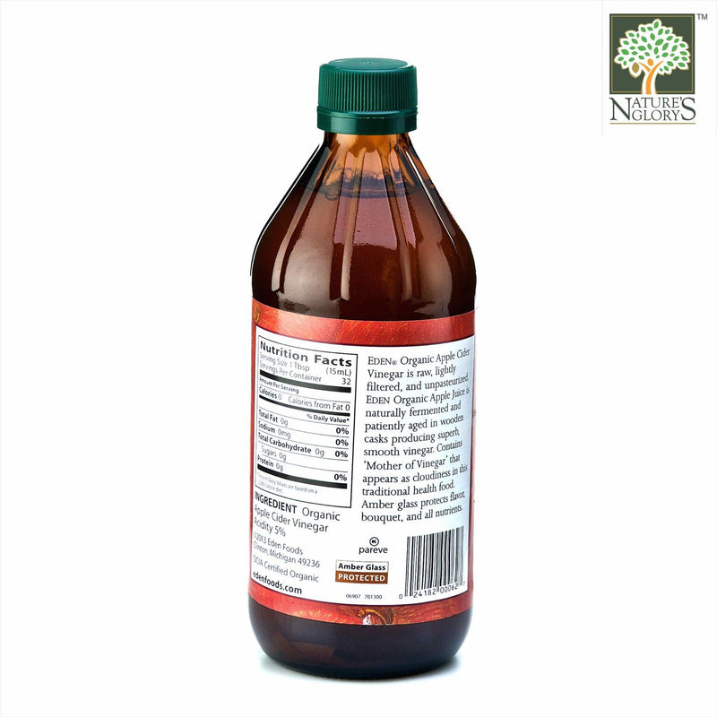 Eden Raw Vinegar Apple Cider Organic 473 ml - Back View