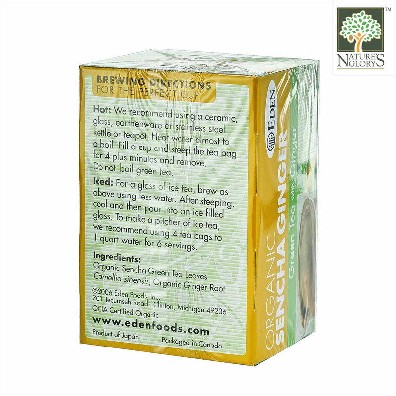 Sencha Ginger Tea, Eden Organic 16 tea bags/box - View 1