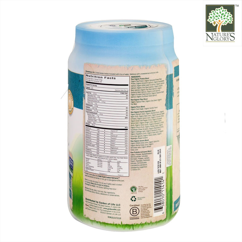 Raw Organic Meal Shake & Meal Replacement Lightly Sweet. Garden Of Life 1038g - Product Description View 2