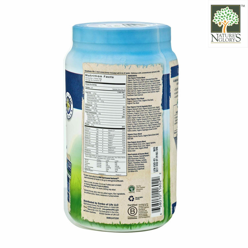 Raw Organic Meal Shake & Meal Replacement Vanilla Garden Of Life 969g - Product Description View 1