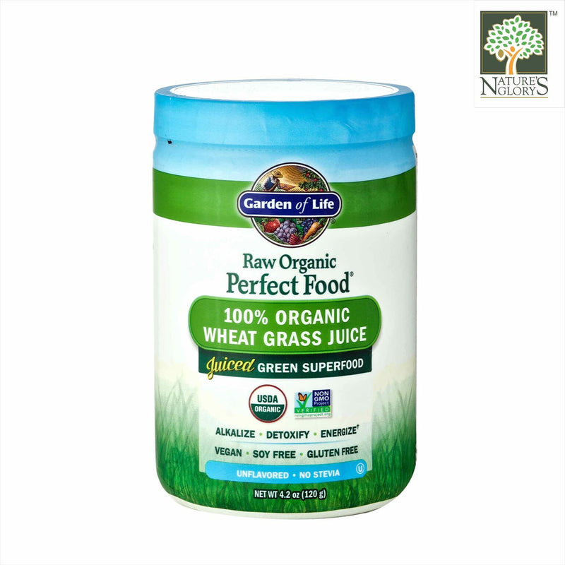Raw Organic Perfect Food 100% Organic Wheat Grass Juice Powder. Garden of Life 120g