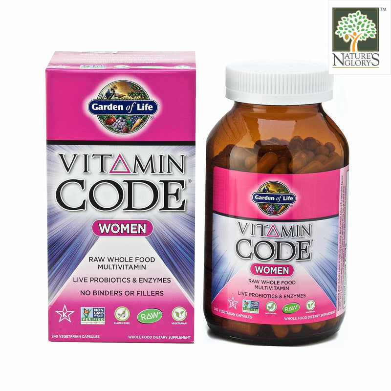 Garden of Life  Vitamin Code for Women 240 Vegan Caps with Box Cover