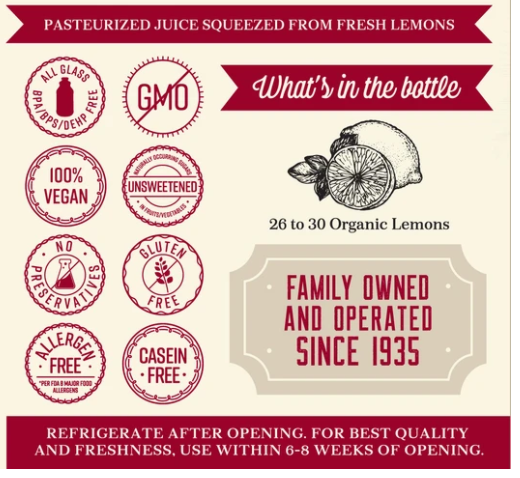 Organic Pure Lemon Juice Lakewood 946 ml