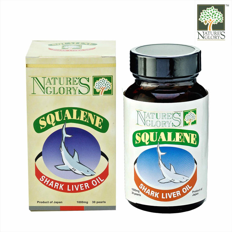 Squalene Nature's Glory 1000mg 30 caps next to box cover