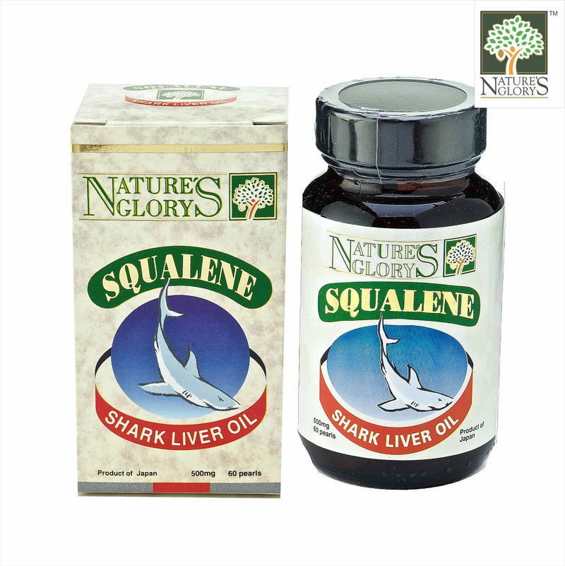 Squalene Nature's Glory 500mg 60 caps next to product box