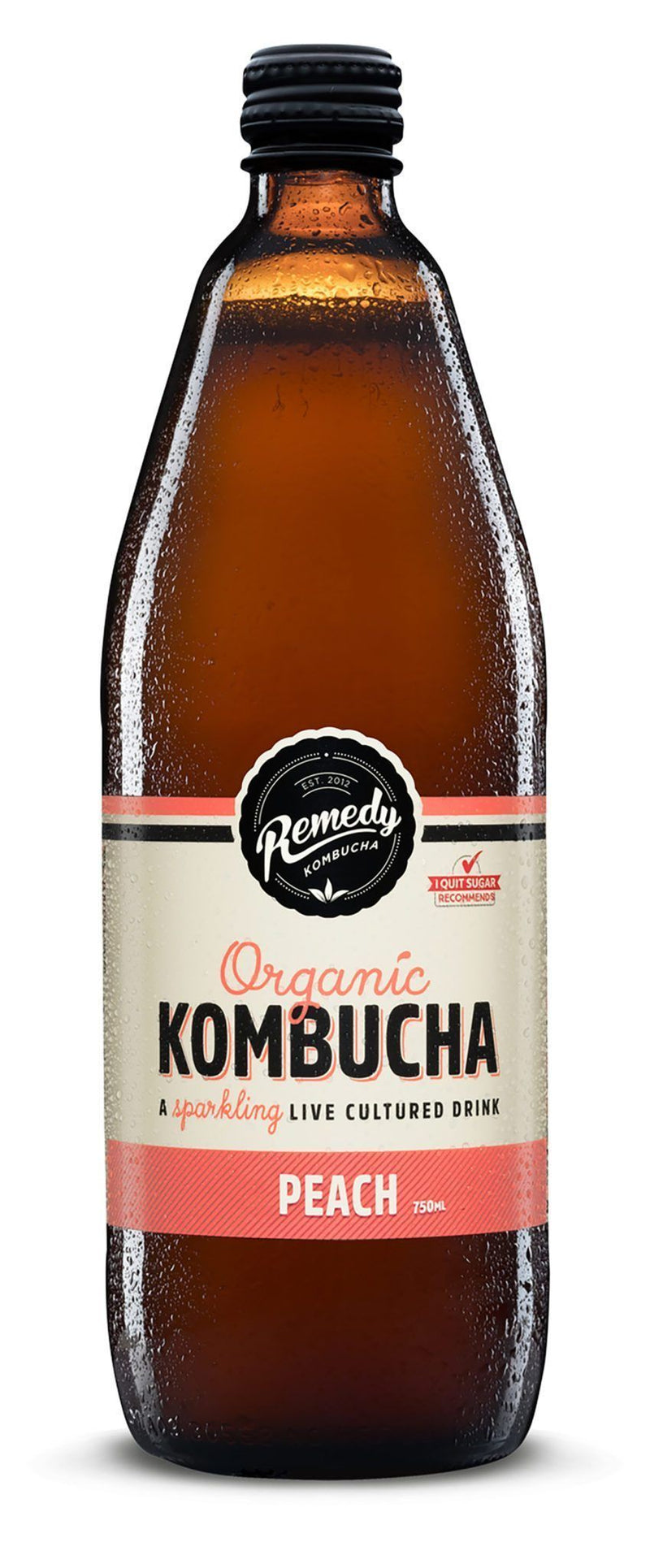 Remedy Organic Kombucha Peach 750ml