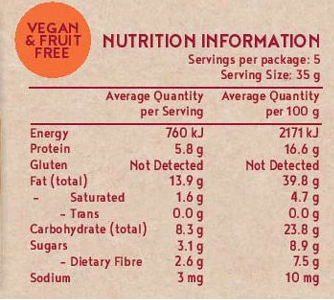 Pecan & Maple Energy Bar Kuranda Gluten Free 175g - Nutrition Information