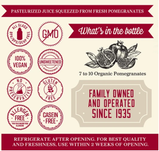 Organic Pure Pomegranate Juice Lakewood 946 ml (Best before: July 2021)