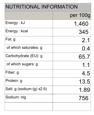Quinoa Udon Nature's Glory 250g/750g - Nutritional Information