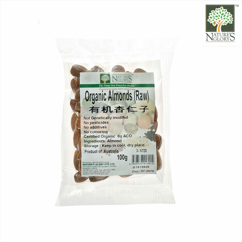 Organic Raw Almond Nature's Glory 100g Biodynamic