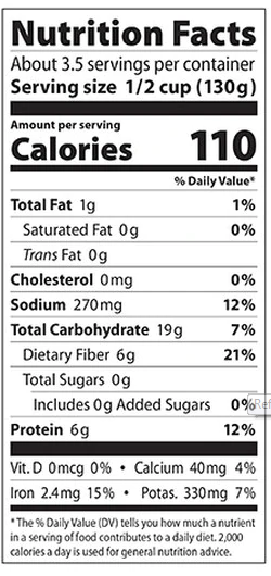 Refried Black Beans Eden Organic 454g - Nutrition Facts