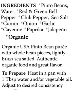 Spicy Refried Pinto Bean Eden Organic 454g - Content