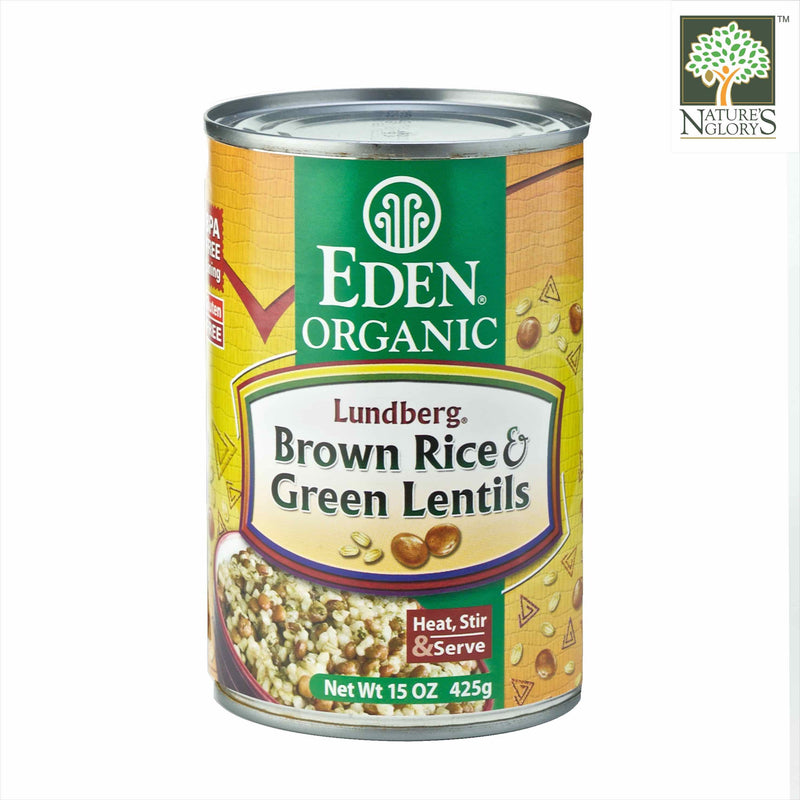 Rice & Green Lentil Eden 425g OG.