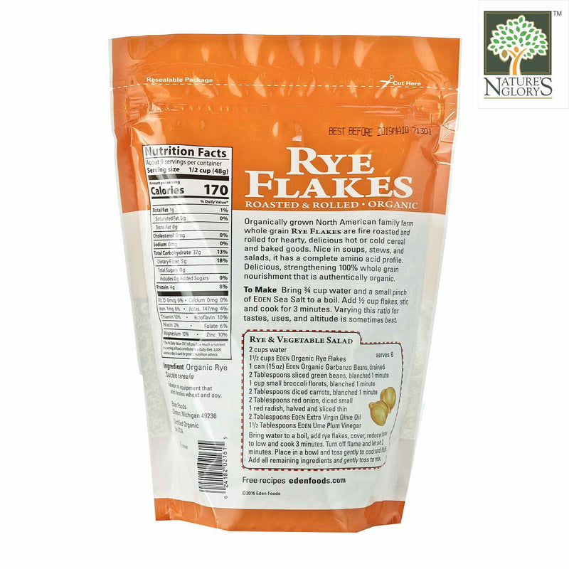 Rye Flakes Eden Organic 454g- Back View