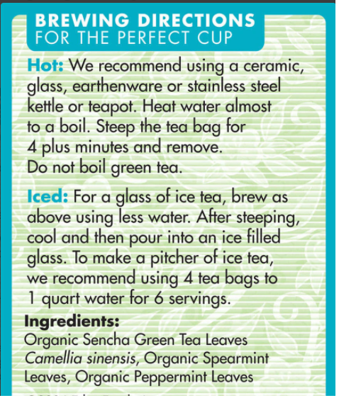 Sencha Mint (Green Tea with Mint) Eden Organic 16 tea bags - View 2