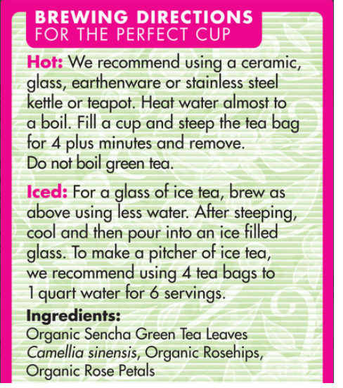 Sencha Rose Green Tea Eden Organic 16 tea bags - View 2