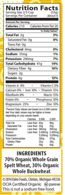 100% Wholegrain Spelt & Buckwheat Gemelli Pasta Eden Organic 340g - Nutrition Facts