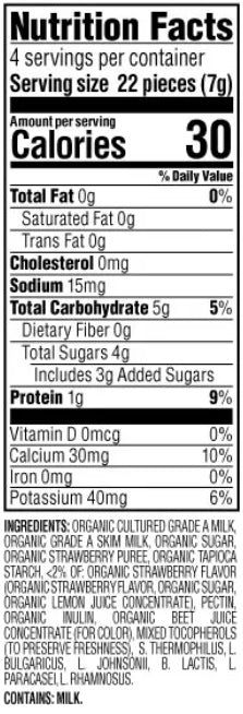 Strawberry Happy Baby Yogis Organic Snack 28g - Nutrition Facts