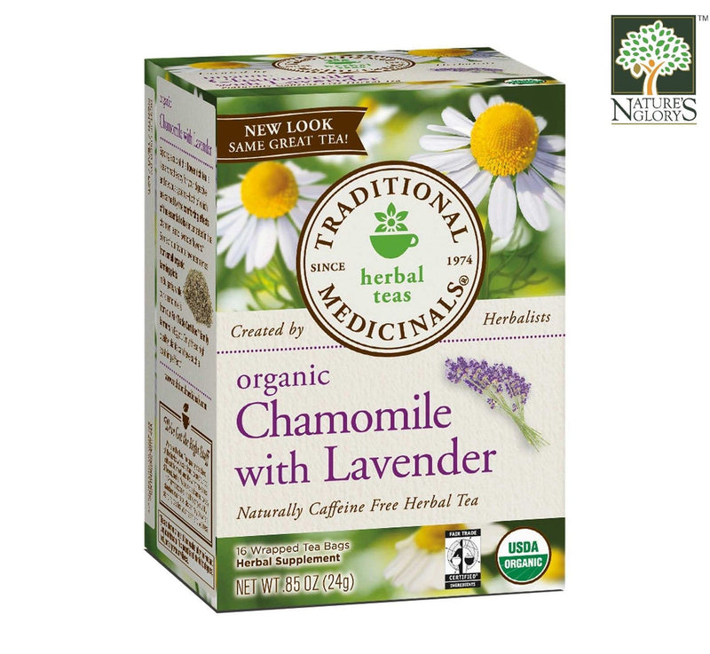Organic Chamomile with Lavender Herbal Tea, Traditional Medicinals 16 Wrapped tea bags