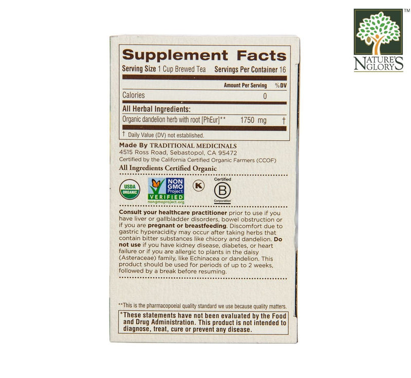Organic Dandelion Leaf And Root Tea, Traditional Medicinals 16 bags - View 3