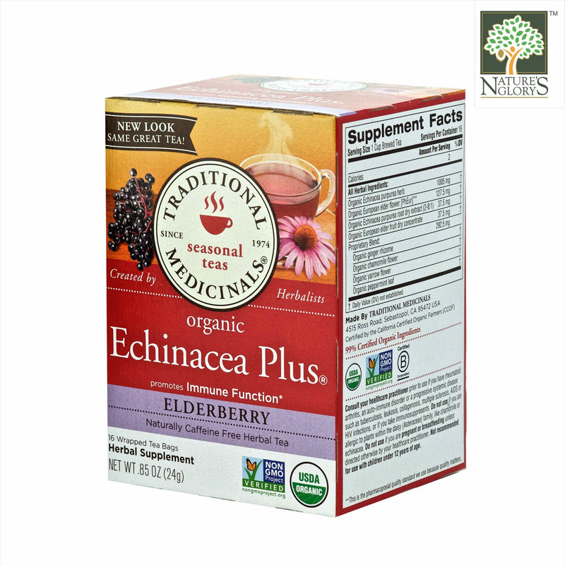 Organic Echinacea Plus Elderberry, Traditional Medicinals 16 Wrapped tea bags